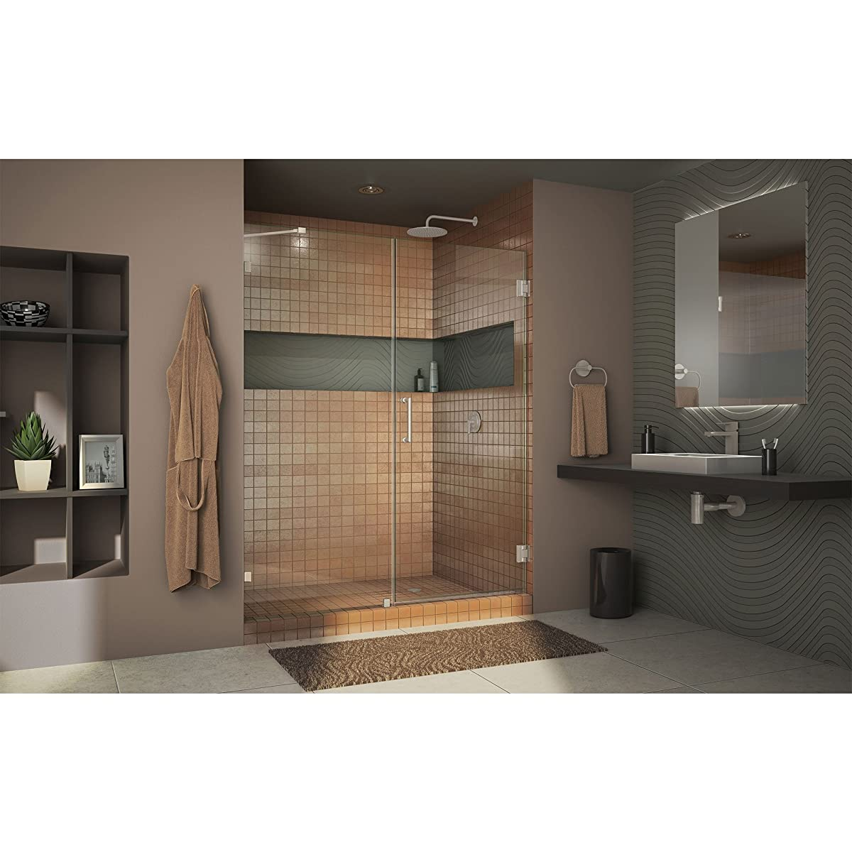 """DreamLine Unidoor Lux 60 in. Width, Frameless Hinged Shower Door, 3/8"""" Glass, Brushed Nickel Finish"""