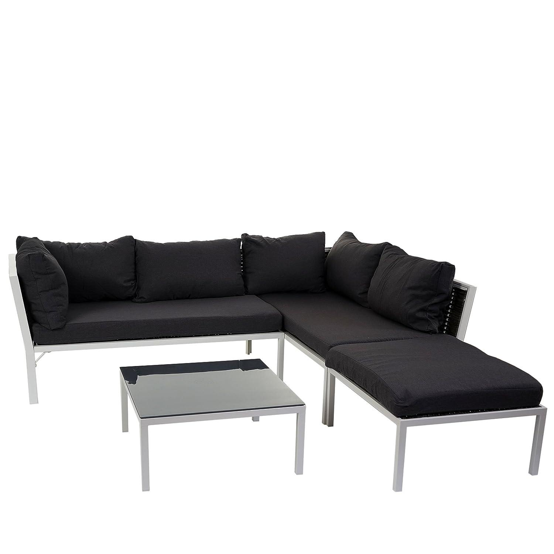 Poly-Rattan Sofa-Garnitur Delphi, Sitzgruppe Lounge-Set, Alu ~ Set 1, Kissen anthrazit kaufen