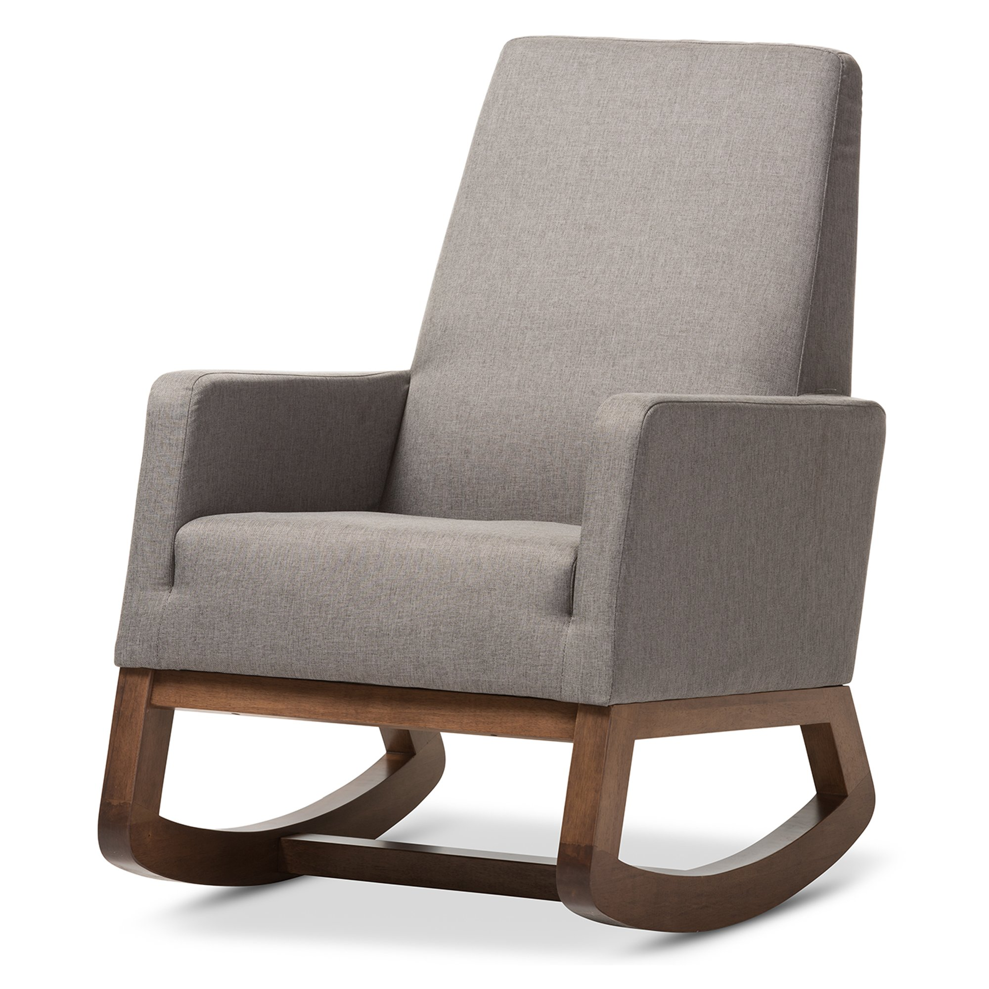 Baxton Studio Yashiya Mid-Century Retro Modern Fabric Upholstered Rocking Chair, Grey