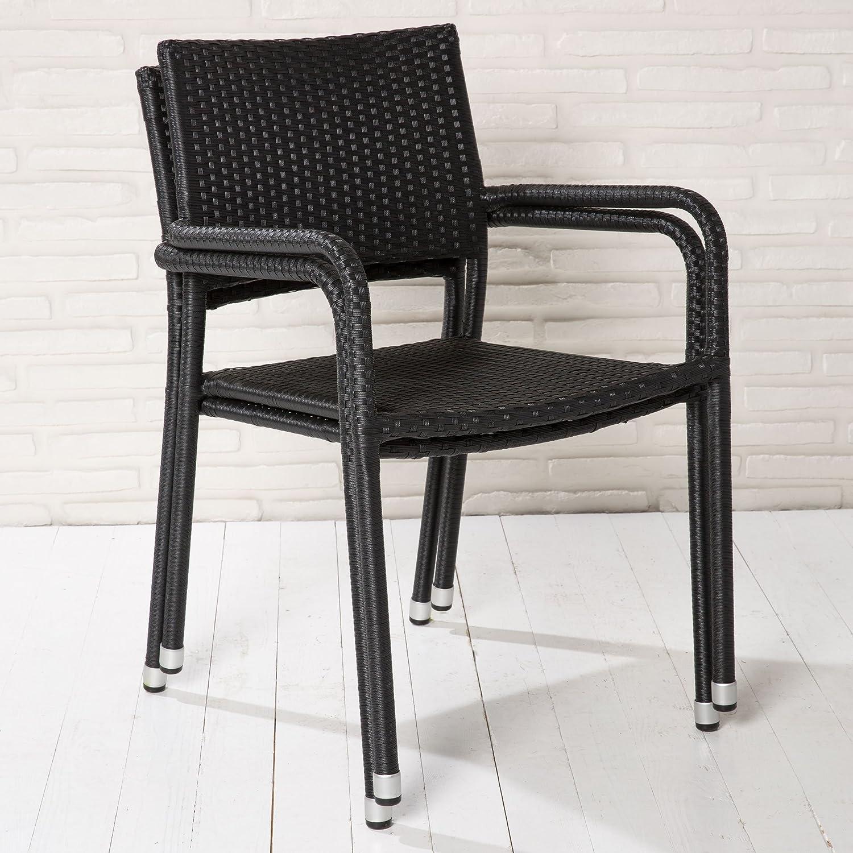 4 stapelbare Gartenstühle Stapelstühle schwarz Rattanoptik Balkonstühle Stahl