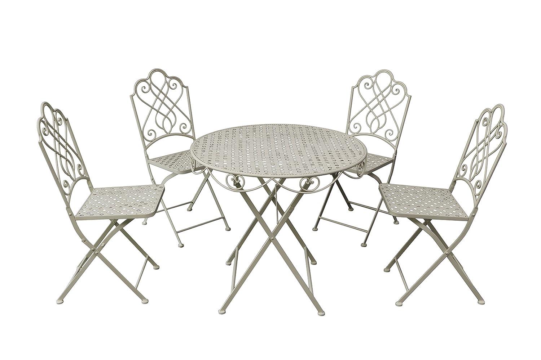 Gardman Gartenmöbel Bistro Set, Klapp-Garnitur für 4 Personen, beige