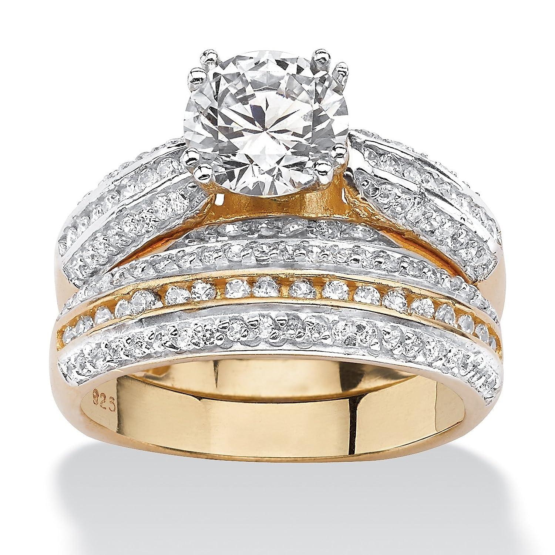 Palm Beach Jewelry Verlobungsring-Set für Damen – 18 Karat vergoldetes Sterlingsilber – 2,55 ct. runder Cubic Zirkonia günstig