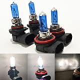 Mega Racer Combo H11 9005-HB3 Super White 5000K Xenon Halogen Headlight Bulb (High/Low Beam) Hi/Lo 12V Head Light Car