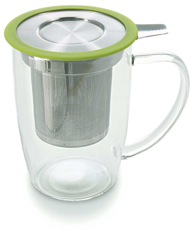 forlife newleaf glass tea 16 ounce mug with infuser and. Black Bedroom Furniture Sets. Home Design Ideas