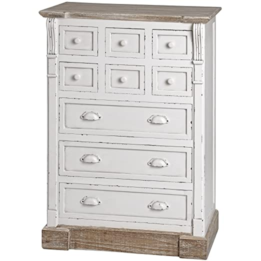 ANTIQUE WHITE CHEST OF DRAWERS STORAGE WITH NINE DRAWERS SHABBY CHIC HAMPTON (H13405)