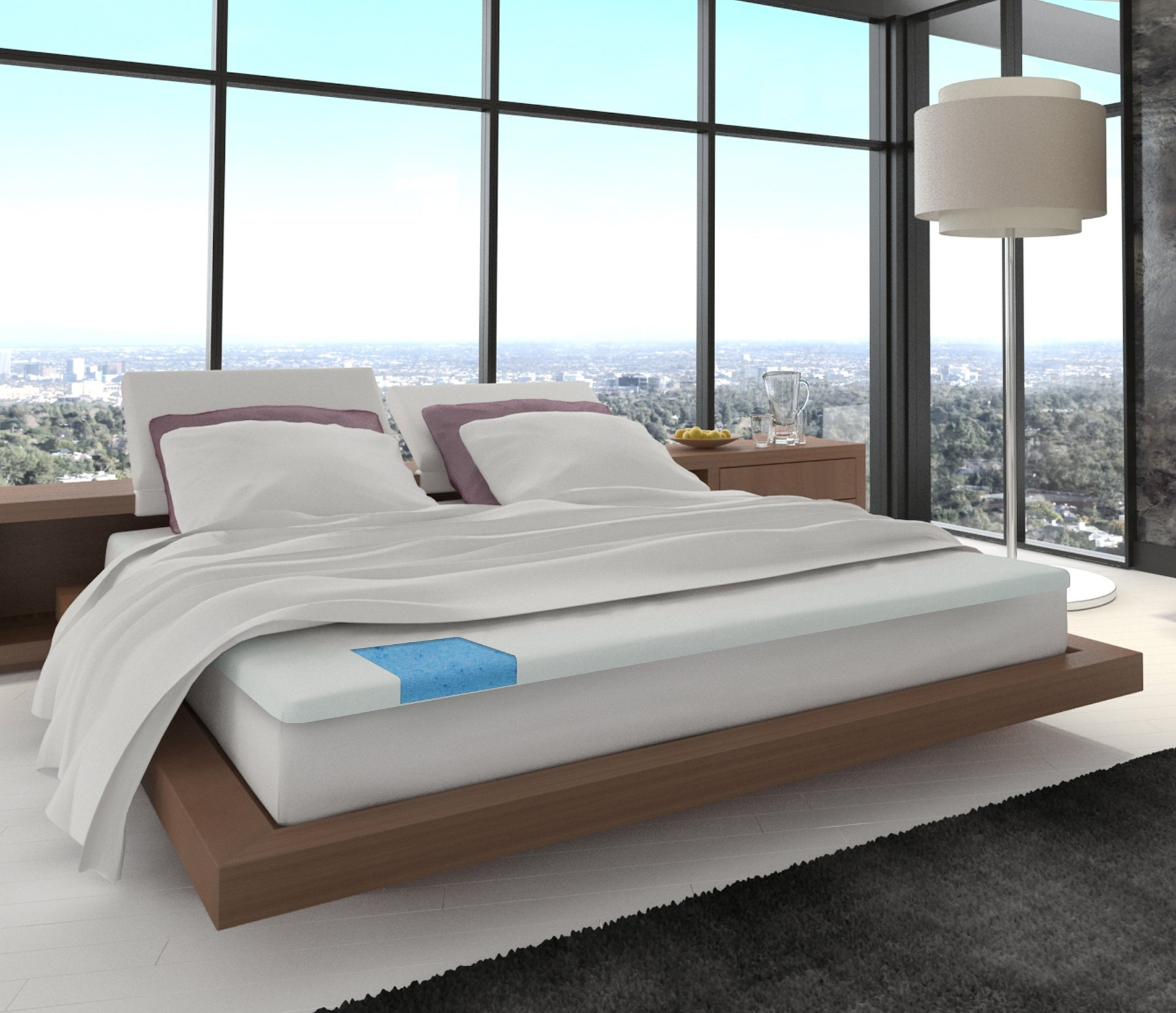 gel blue foam top topper twin size mattress in made htm p toppers usa inch memory