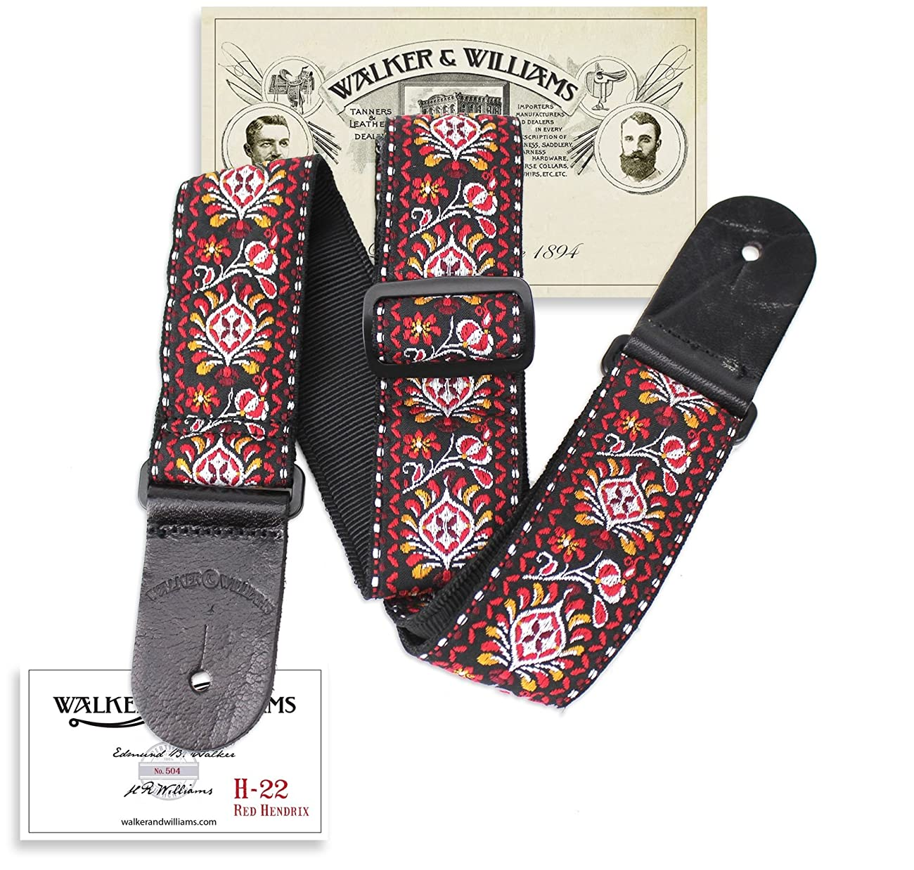 Walker & Williams H-22 Red Hendrix Woven 60's Style Hootenanny Hippie Guitar Strap 0