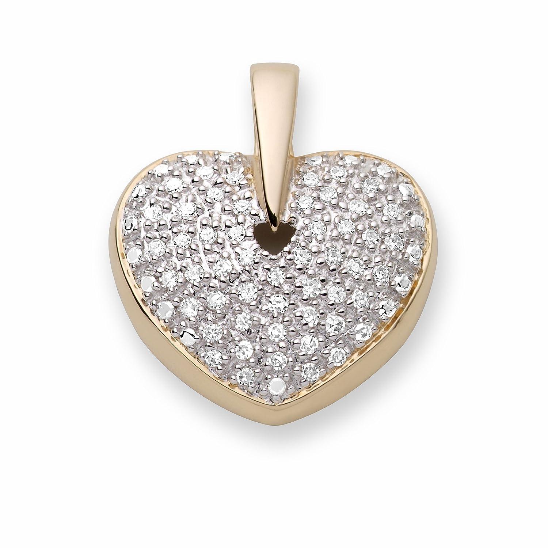 Miore MP072P Herzanhänger 9 Karat (375) Gelbgold mit 50 Diamanten 0,25Ct
