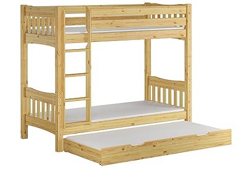 Letto castello 90x200 con assi di legno, 3 materassi e cassettone letto 60.15-09 Ni70 M S7M