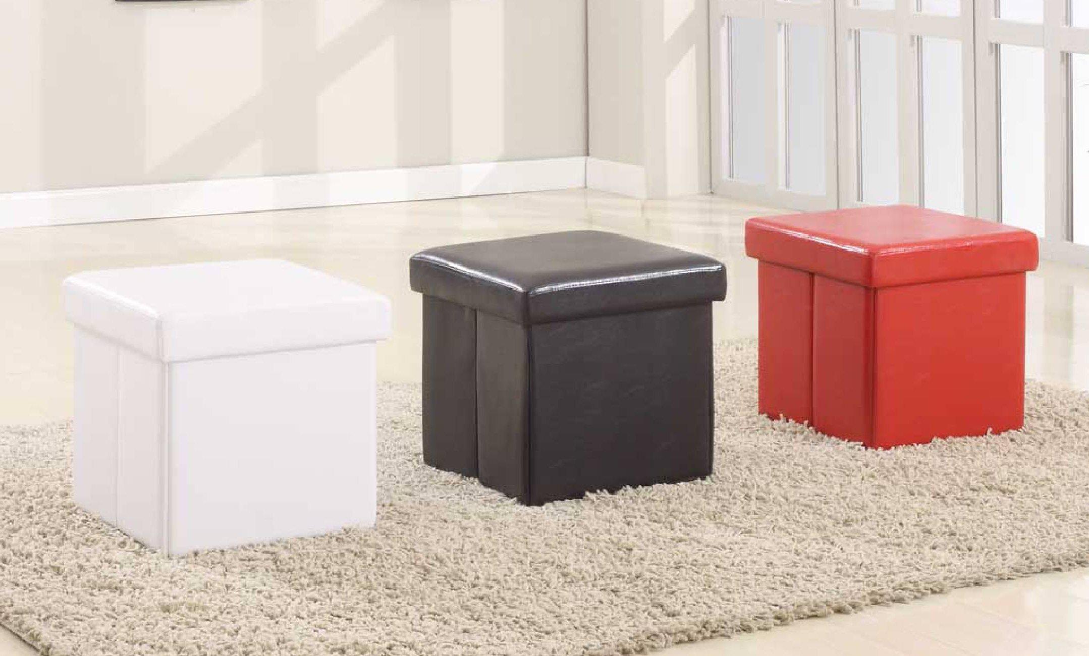 Attrayant Modus Furniture International Urban Seating Folding Storage Cube, White  Leatherette