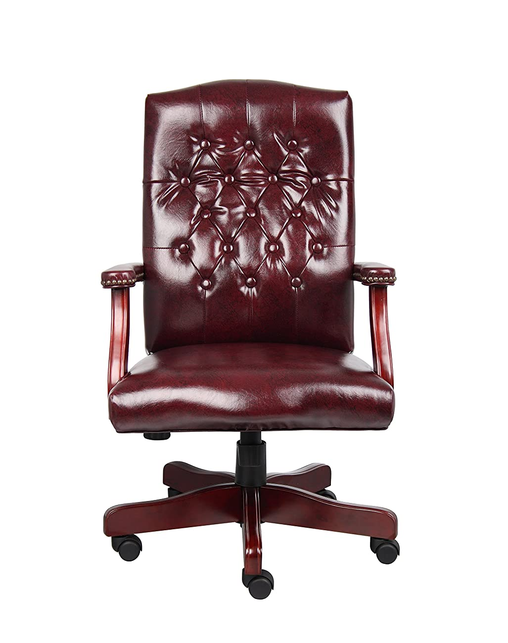 Boss Office Products B905-BY Classic Executive Caressoft Chair with Mahogany Finish in Burgundy 2