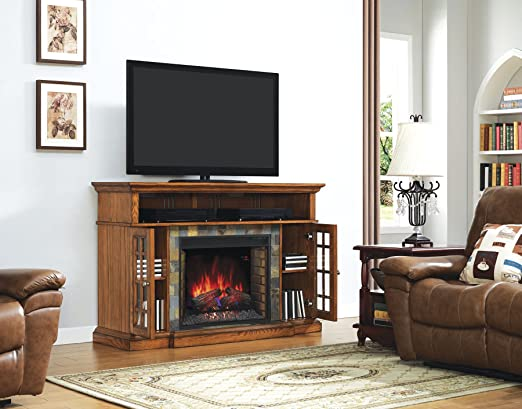 "Lakeland TV Stand for TVs up to 65"", Premium Oak (Electric Fireplace Insert sold separately)"