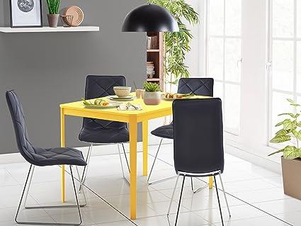 Tischgruppe Sitzgruppe Essgruppe 5-teilig TRENDY: Tisch aus massivem Holz und MDF mit 4 Kunstleder Stuhlen