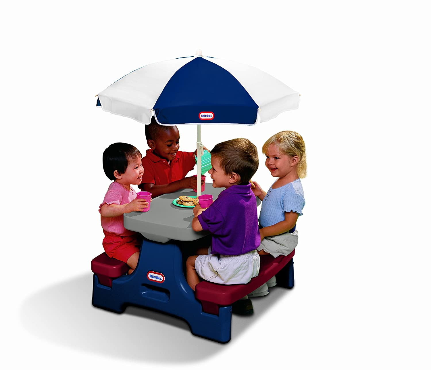 An Image of Little Tikes Easy Store Jr. Play Table with Umbrella