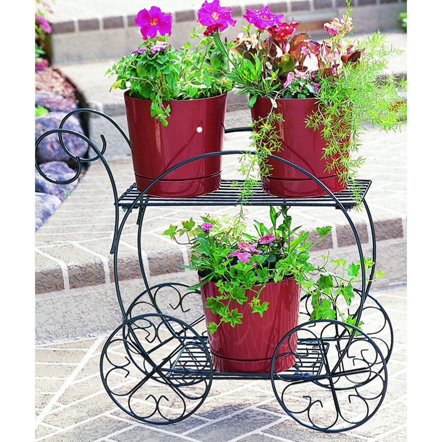 Green flower stand 2 tier patio plant holder garden decor for Patio garden accessories