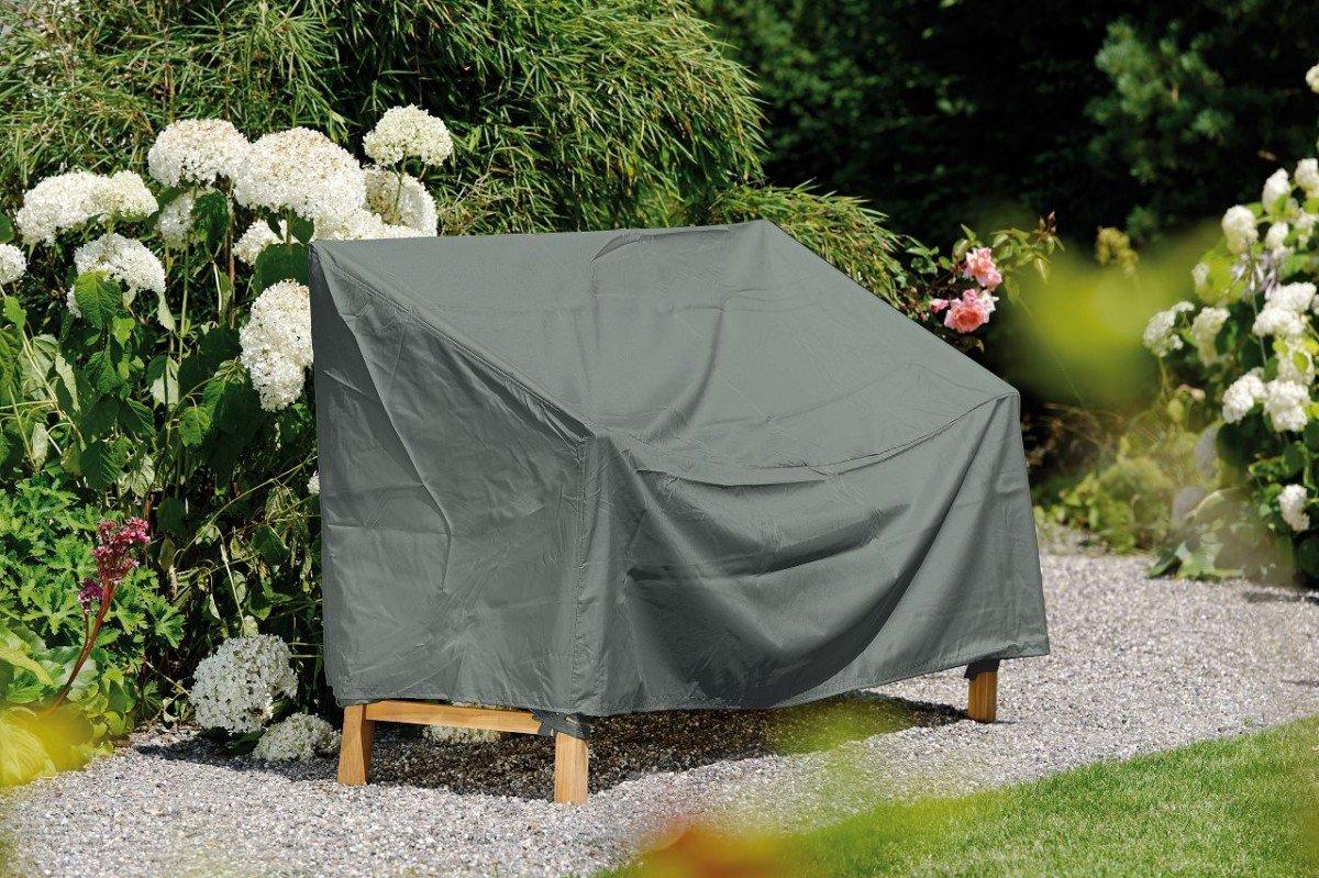Dreams4Home Schutzhülle für Bank 2-Sitzer - Schutzhülle, Hülle, Abdeckung, Gartenmöbelabdeckung, B/H/T: 150 x 80 x 55 cm, mit Bindebändern, 100% Polyester PU beschichtet, in grau