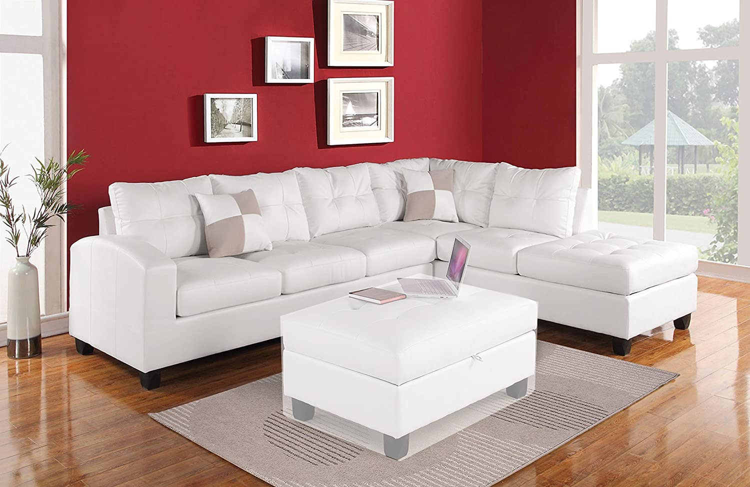 1PerfectChoice Kiva White Bonded Leather Reversal Sectional Sofa Set