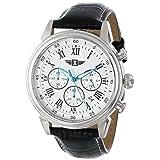 RELOJ INVICTA PARA HOMBRE - Reloj de acero inoxidable 90242-002 con banda de cuero negro.