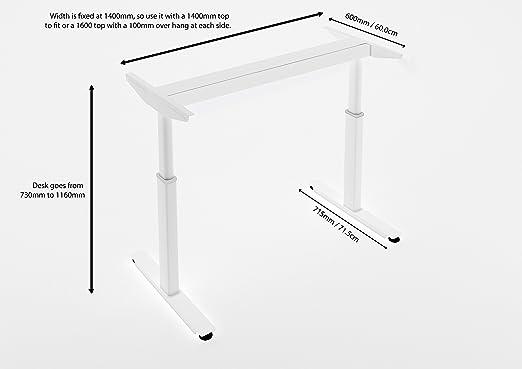 Estructura de ajuste electrónico de altura para mesa, con bandeja para cables, color blanco o negro, color blanco