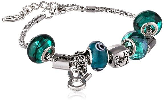 Taurus Murano Style Glass Beads and Charm Bracelet