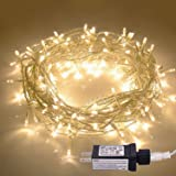 JMEXSUSS 100LED 49.2ft Indoor String Light Christmas Lights Fairy String Lights 30V 8 Modes for Homes, Christmas Tree, Wedding Party, Room, Indoor Wall Decoration, UL588 Approved (100LED, Warm White) (Color: Warm White-clear Wire, Tamaño: 100LED)