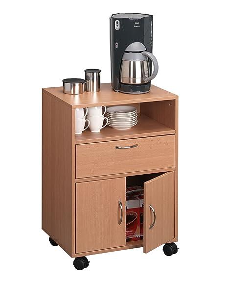 Durable 311647 Desserte Mobile Multifonction 1 Niche + 1 Porte Abattant et 2 Portes Basses Dimensions (L x H x P) 52,8 x 74,8 x 40 cm Finition Hêtre