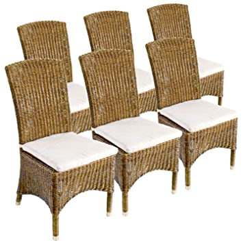 "Stuhl mit Messingfußkappen Set 6x ""Matt"", crocco-brown"
