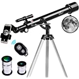Telescope, 60mm Aperture 700mm AZ Mount Astronomy Refractor Telescope,Travel Scope with Smartphone Adapter and Wireless Remote for Kids & Beginner (Tamaño: AZ60700)