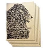 (Set of 5) A6 Dot Grid Handmade 4 x 5.75 inches Notebook/Strong Lion Quote Cover / 60 Dot Page | Lay Flat Binding | Cream Paper (Color: Lion, Tamaño: Dotted Grid)