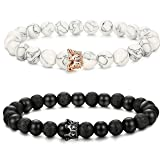 LOLIAS 2 Pcs Bead Couples Bracelet for Men Women Crown Queen Bracelet Black Matte Agate & White Howlite Bracelet Adjustable 8MM Beads H