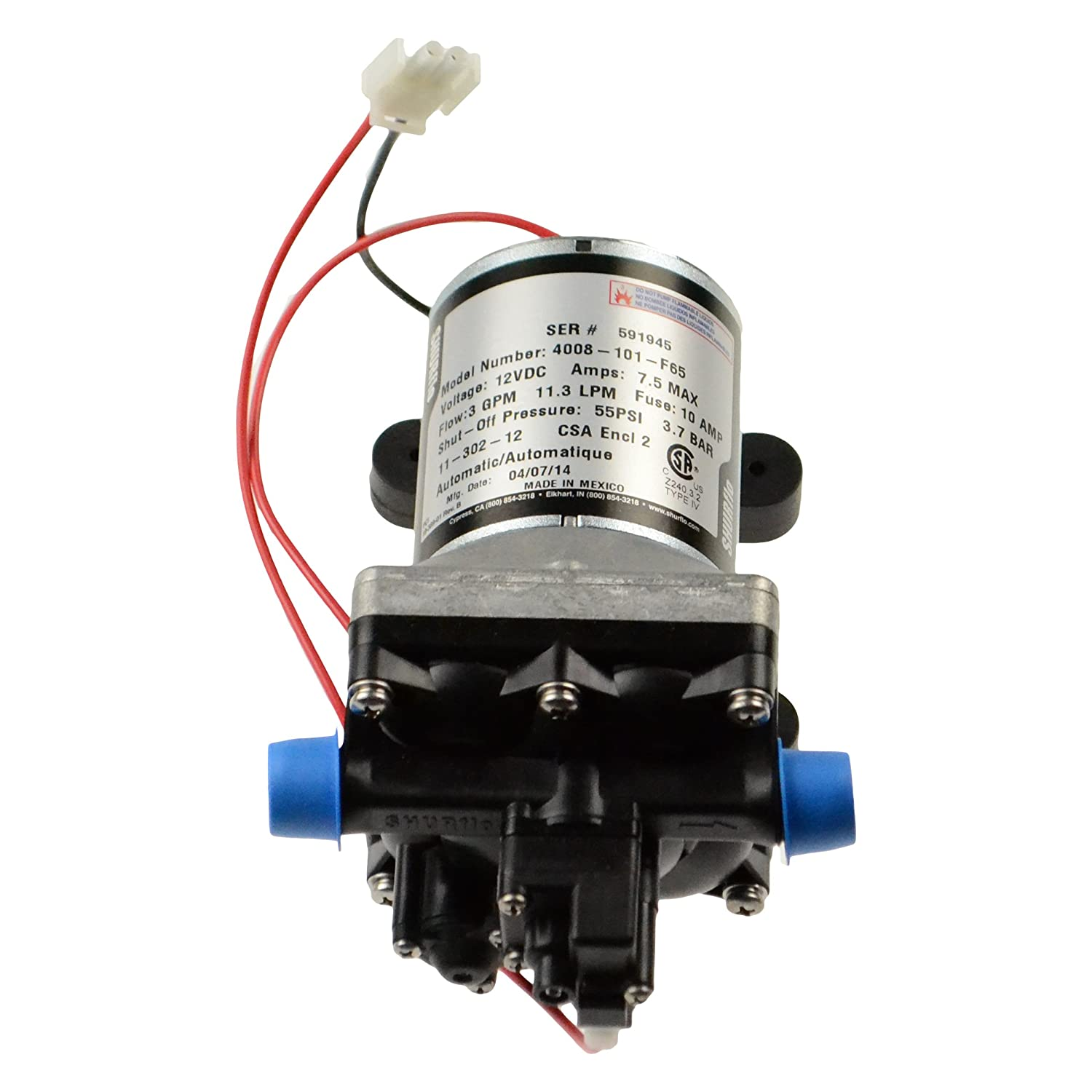 Shurflo 4008-101-F6 12V Water Pump with Bypass 55PSI  цена и фото