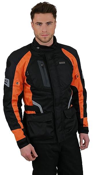 NERVE 1511152009_05 Spark Blouson Moto Touring Textile, Noir/Orange, Taille : XL