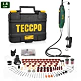 Rotary Tool TECCPO, High Performance, 1.8 Amp, 10000-40000RPM, 6 Variable Speed with Flex shaft, Universal Keyless Chuck, Sharpening Guide, 120 Accessories Ideal for Crafting Project and DIY