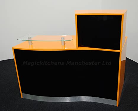 Reception Desk in High Gloss Orange and Black / Ref: 0606