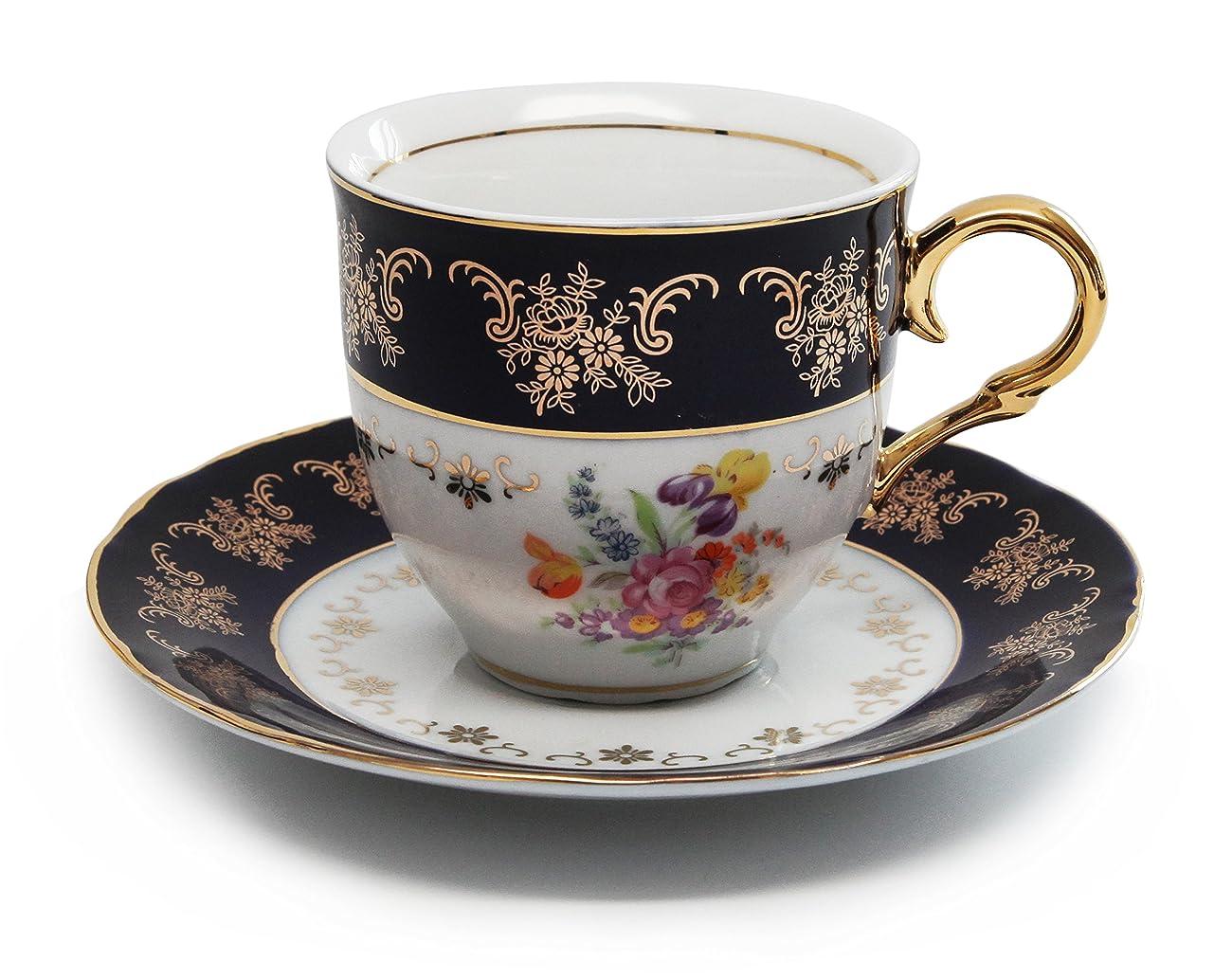 Royal Porcelain 17pc Flower-Patterned Dark Blue Tea Set, 24K Gold-Plated Original Cobalt Tableware, Service for 6 5