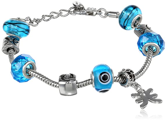 Pisces Murano Style Glass Beads and Charm Bracelet