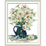 """eGoodn Stamped Cross Stitch Kits With Printed Pattern Flower - Daisy Vase, 15"""" x 18.1"""" 11CT Aida Fabric For Embroidery Art Cross-Stitching Lovers"""