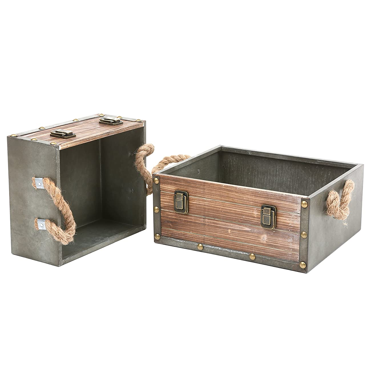 MyGift Set of 2 Wood Crates w/ Rope Handles, Rustic Nesting Storage Boxes, Brown 0