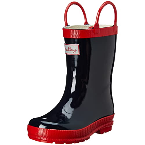 Hatley Little Boys Navy and Red Rain Boot