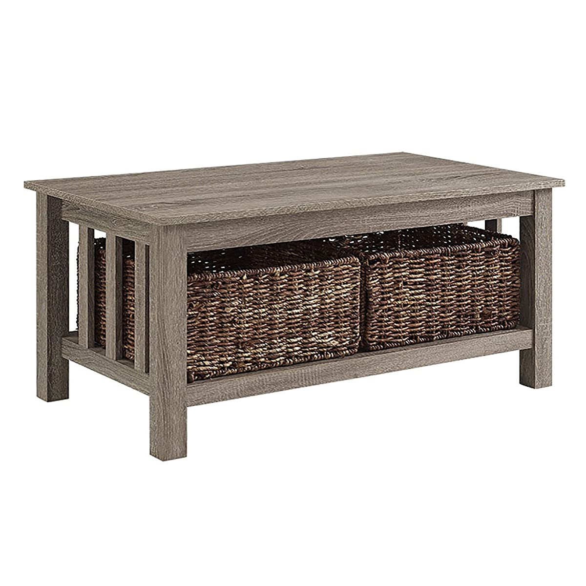 """40 Square Driftwood Coffee Table: WE Furniture 40"""" Wood Storage Coffee Table With Totes"""