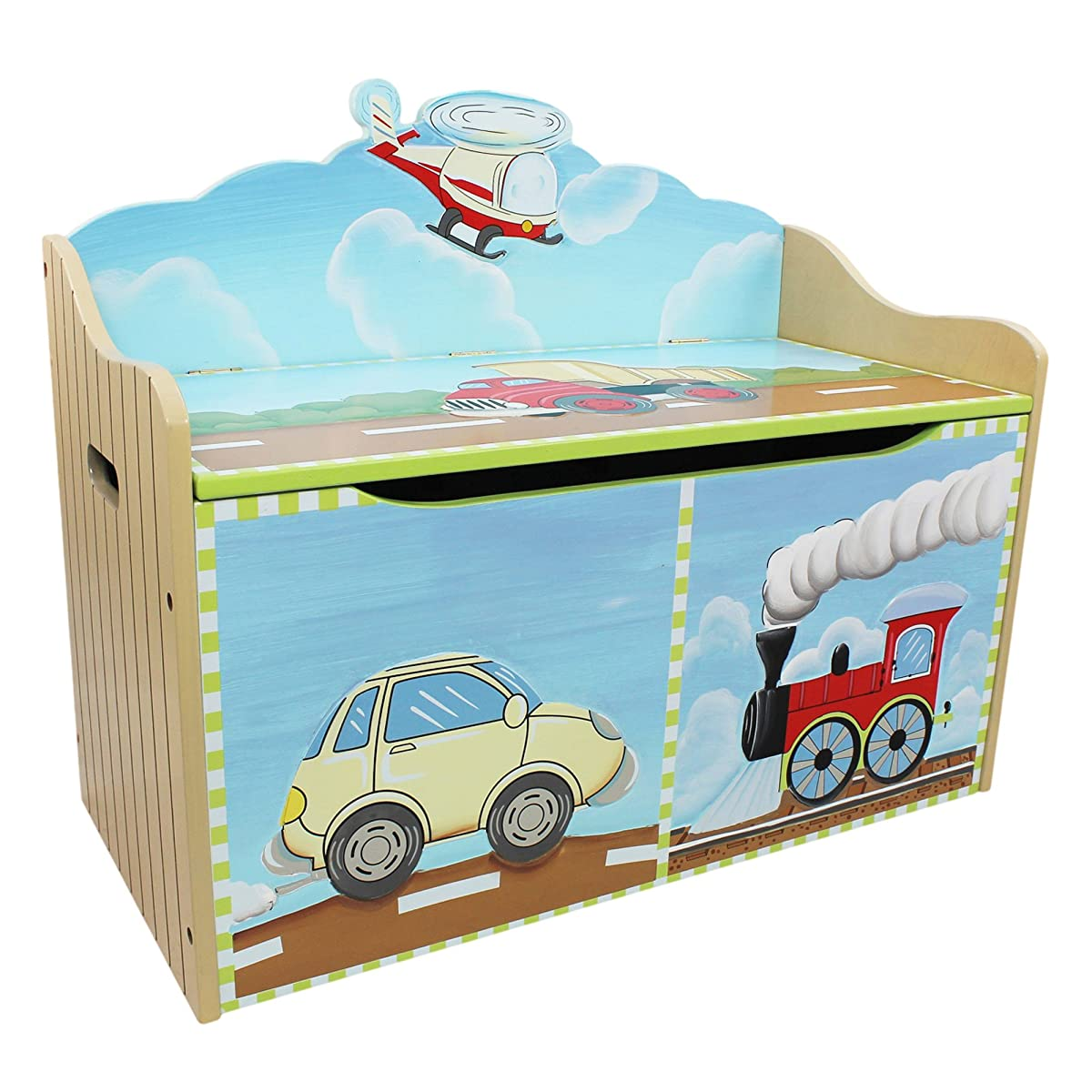 Transportation Thematic Kids Wooden Toy Chest with Safety Hinges Imagination Inspiring Hand Crafted