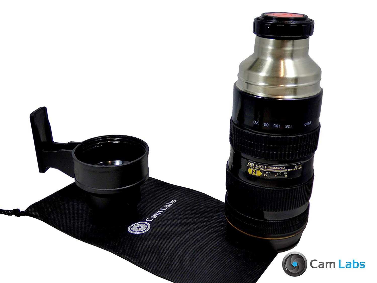 CamLabs Camera Lens Thermos - Nikon 70-200mm Lens Replica - High-grade Travel Insulated Tumbler - Stainless Steel Coffee Travel Mug with a Handled Cup - Rubberized Exterior for Superior Grip - Guaranteed 100% Safe with FDA and SGS Approval - Free Travel Bag - Best Gift for Photographers - 16oz