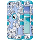 ULAK iPod Touch Case, iPod 5 & 6th Generation Case, iPod Touch 7th Gen Case (2019 Released), Anti Slip Shockproof Protective Cover with Hybrid High Soft Silicone + Hard PC Case, Pinstripes Flowers (Color: Pinstripes Flowers)