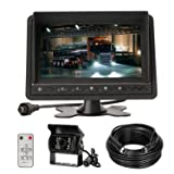 CarThreen Backup Camrea and Monitor Kit IP67 Waterproof 18 LED Lights Night Vision Rear View Camera with Weird 7 Inch LCD Monitor for Heavy Duty Vehicle Truck Bus(CL718D) (Color: Black-718)