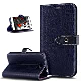 Huawei Y5 II Case,Huawei Y5 II Cover,ikasus Pure Crocodile Pattern Premium PU Leather Fold Flip Wallet Case Cover with Card Slots Stand Protective TPU Inner Case Cover for Huawei Y5 II,Royal Blue (Color: Royal Blue)