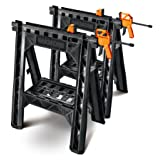 WORX Clamping Sawhorse Pair with Bar Clamps, Built-in Shelf and Cord Hooks – WX065 (Tamaño: 1-(Pack))