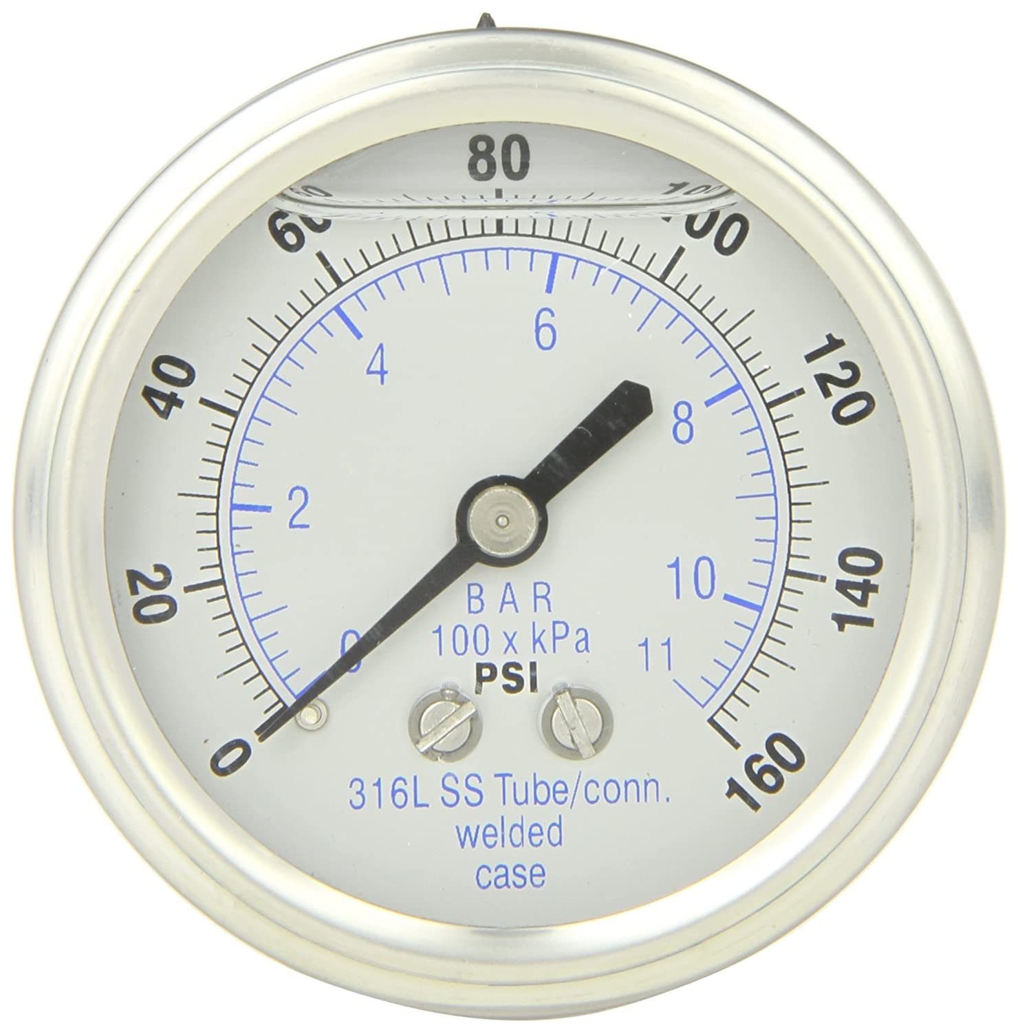 PIC Gauge 302LFW-254F Glycerin Filled Center Back Mount Pressure Gauge with Stainless Steel Case, 316 Stainless Steel Internals, Plastic Lens, Welded Connection, 2-1/2