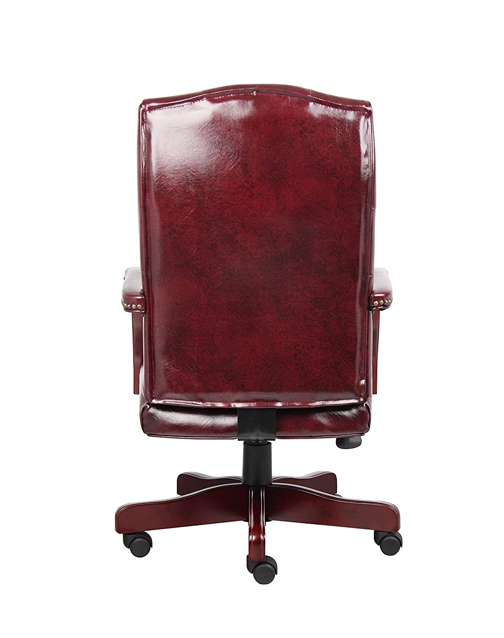 Boss Office Products B905-BY Classic Executive Caressoft Chair with Mahogany Finish in Burgundy 1