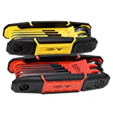 Texas Best Folding Metric and SAE Hex Keys | Durable Construction 2 Pack (Color: Red / Yellow, Tamaño: SAE / MM)