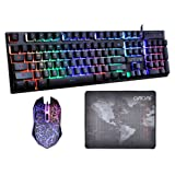 CHONCHOW LED Backlit Wired Gaming Keyboard and Mouse Mousepad Combo US Layout USB Keyboards Mechanical Feel with Mutilmedia Keys Character Illuminated for Windows Mac,1910B (Color: 1910b.)